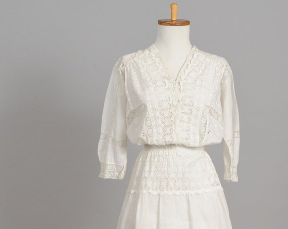 1910 White Edwardian Two Tiered Vintage Wedding Dress