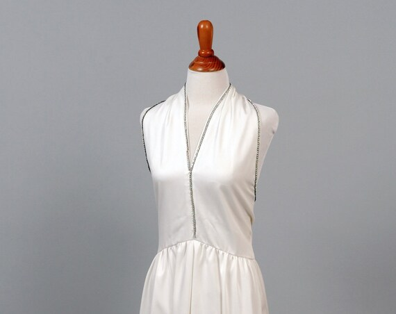1970 Rhinestone V-Neck Halter Vintage Wedding Gown