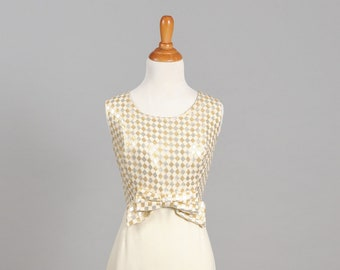 1960 Gold and Silver Vintage Wedding Dress