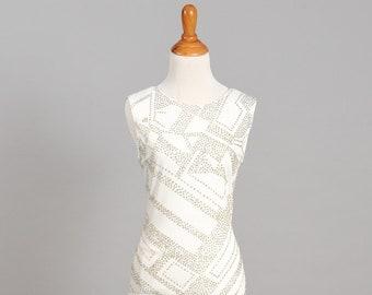 1970 Flapper Style Vintage Wedding Dress