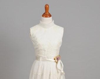 1960s High Neck Chiffon Vintage Wedding Dress