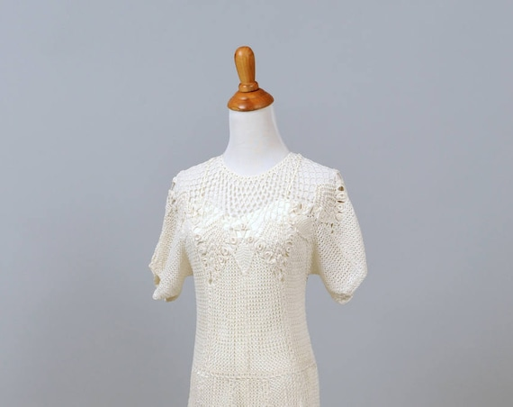 1960 Crochet Floral Vintage Wedding Dress