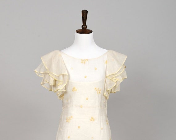 1940 Yellow Organza Vintage Wedding Gown