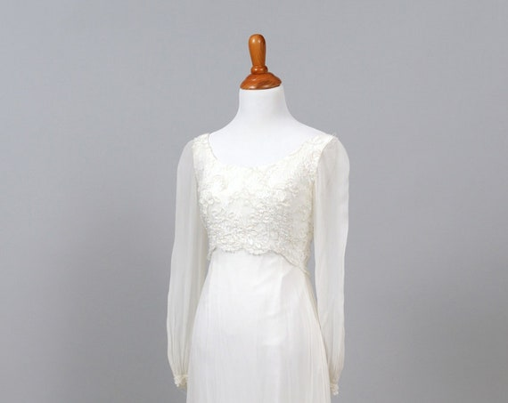 1960 Chiffon And Sequin Long Sleeve Vintage Wedding Dress