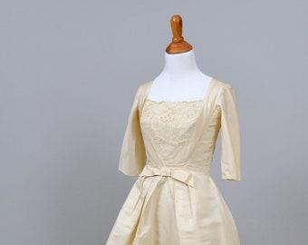 1950 Champagne Silk Vintage Wedding Dress