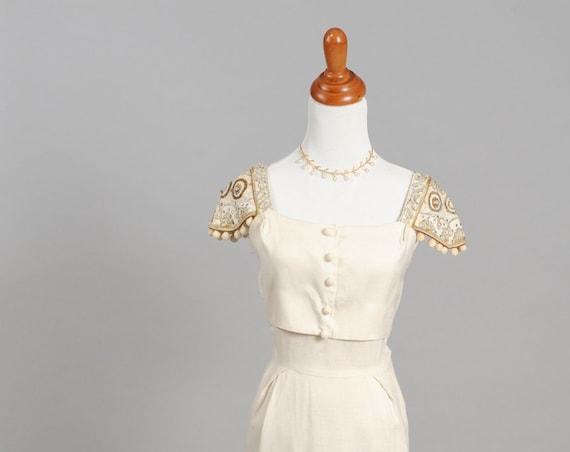 1950 Linen and Soutache Vintage Wedding Dress