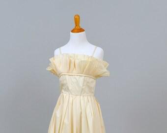 1970s Ruffled Tea Length Taffeta Vintage Wedding Dress