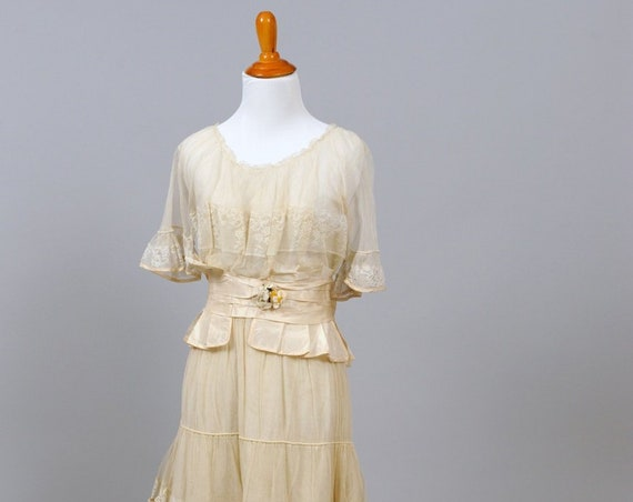 Tea Stained Edwardian Vintage Wedding Gown