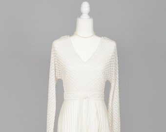 1970s Pleated Knit Vintage Wedding Gown