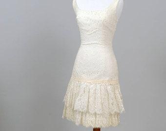 1970 Lace Flapper Style Vintage Wedding Dress