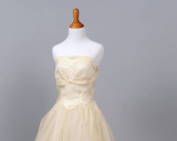1950 Buttercream Organza Vintage Wedding Dress