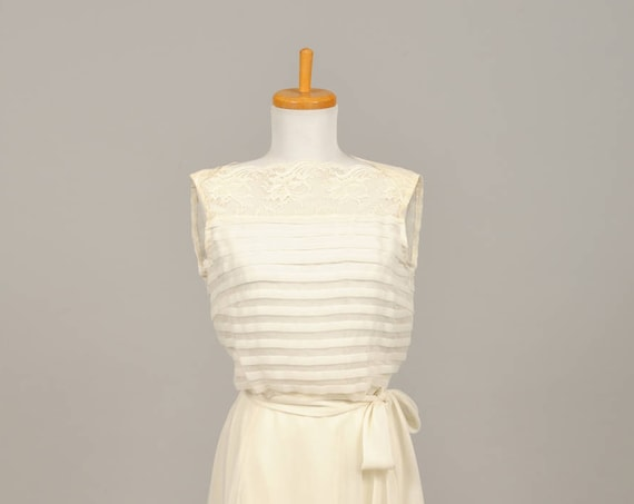 1960 Pleated Chiffon And Lace Wedding  Gown