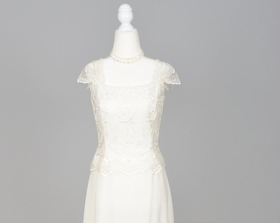 1970 White Net And Chiffon Vintage Wedding Gown