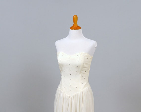1970 Cream Chiffon Rhinestone Vintage Wedding Dress