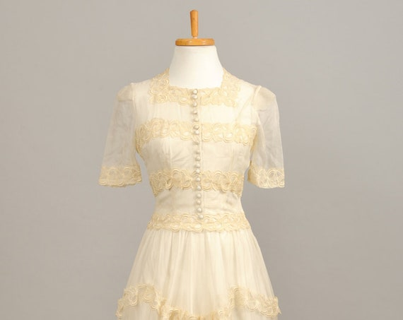1940's Silk Chiffon Vintage Wedding Gown