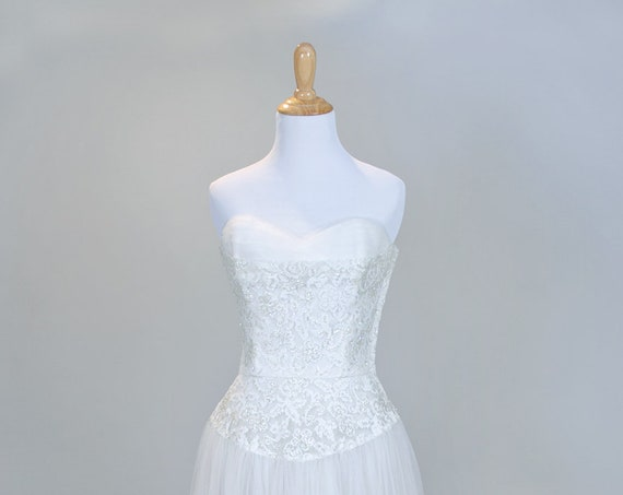 1950 Princess Style Vintage Wedding Gown