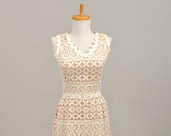 1960 Crochet Mod Vintage Wedding Dress