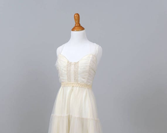 1970 Halter Peasant Vintage Wedding Gown