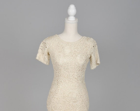 1950 Esther Pomerantz Cream Vintage Ribbon Wedding Dress