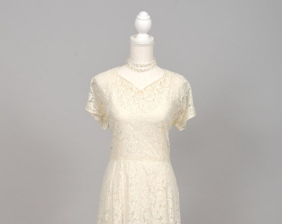 1950 Sheer Lace Vintage Wedding Gown