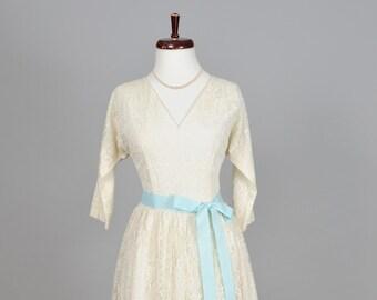 1950 Lace Tea Length Vintage Wedding Dress