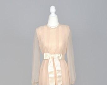 1970 Long Sleeve Peach Chiffon Vintage Wedding Dress