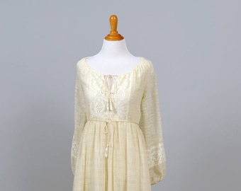 1970 Peasant Gauze Vintage Wedding Gown