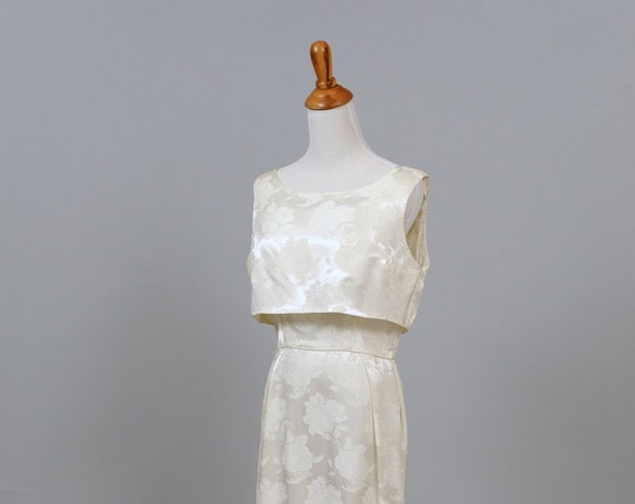 1960 Two Piece Satin Damask Vintage Wedding Gown
