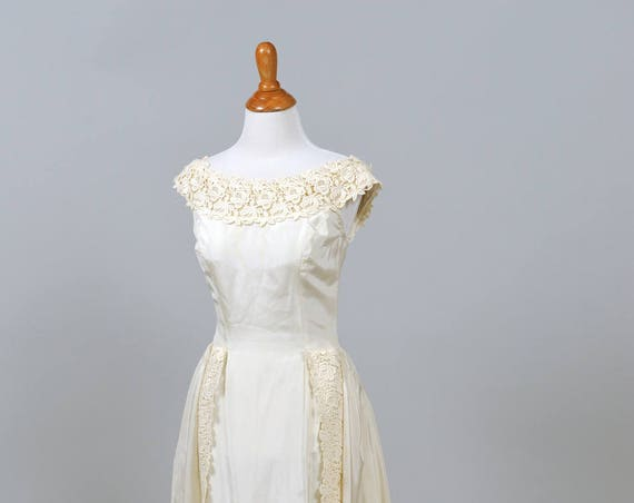 1960 Champagne Taffeta Vintage Wedding Gown