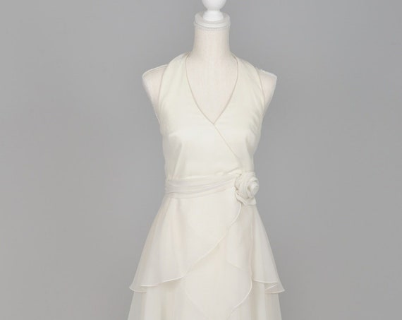 1970 White Tiered Chiffon Vintage Wedding Gown
