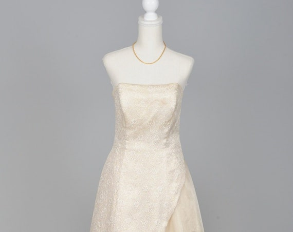 1970 Gold Brocade And Chiffon Vintage Wedding Gown
