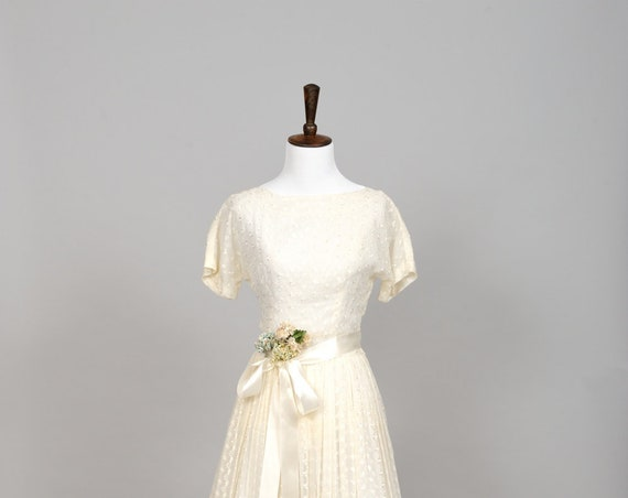 1950 Sheer Pique Vintage Wedding Gown