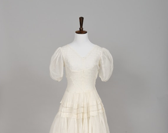 1950 Organdy Eyelet Vintage Wedding Gown