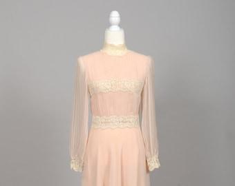 1970 Shell Pink Chiffon Vintage Wedding Dress