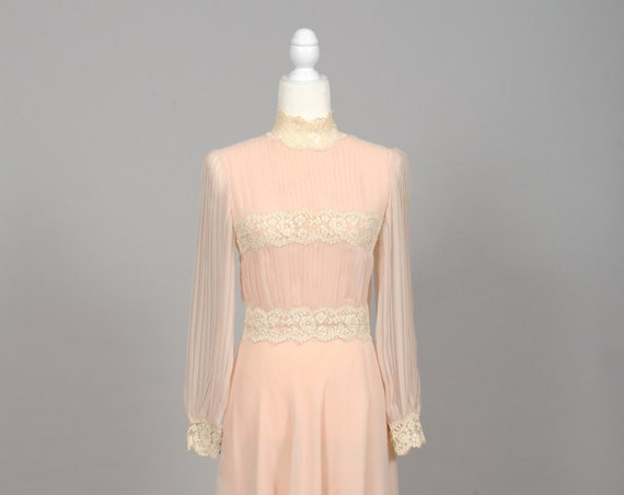 1970 Shell Pink Chiffon Vintage Wedding Dress