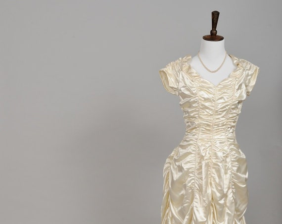 1940 Ruched Silk Satin Vintage Wedding Gown