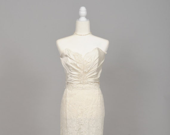 1970 Strapless Satin Lace Vintage Wedding Gown
