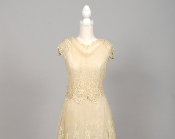 1920 Cream Silk Chiffon Vintage Wedding Gown