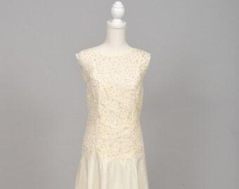 1970 Gold Sequins Vintage Wedding Dress