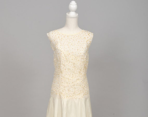 1970 Gold Sequins Vintage Wedding Dress