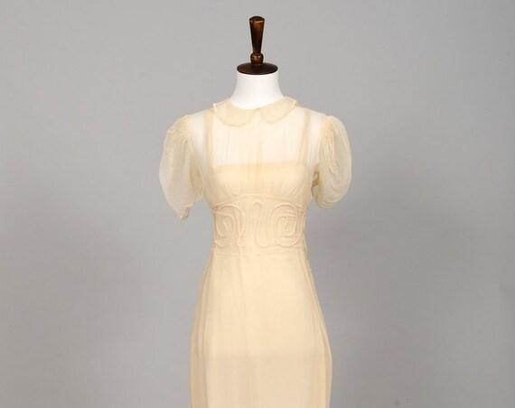 1930 Sheer Butter Embroidered Vintage Wedding Dress