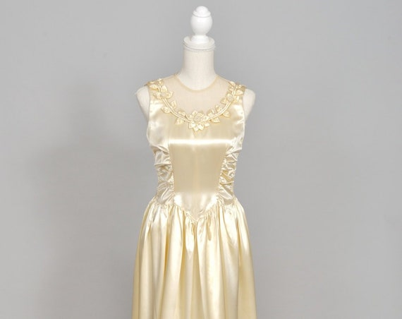 1940 Slipper Satin Vintage Wedding Gown