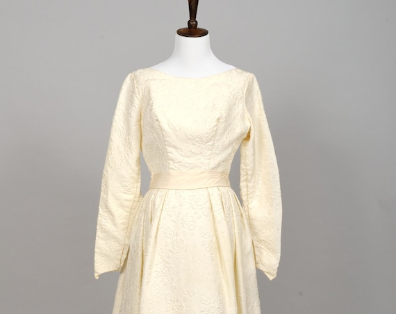 1960 Matelasse Vintage Wedding Gown