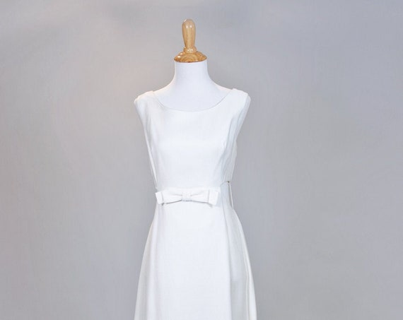 1960 Cotton Faille Cut-Out Vintage Wedding Gown