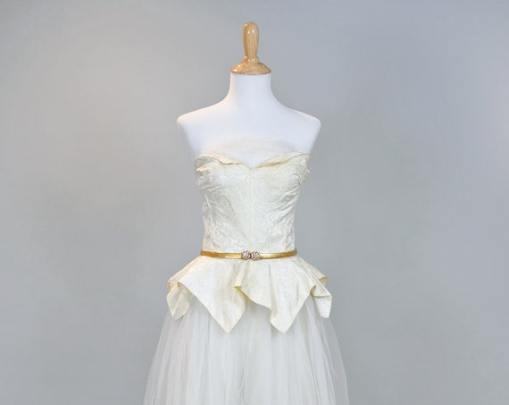 1950 Damask and Tulle Strapless Vintage Wedding Dress
