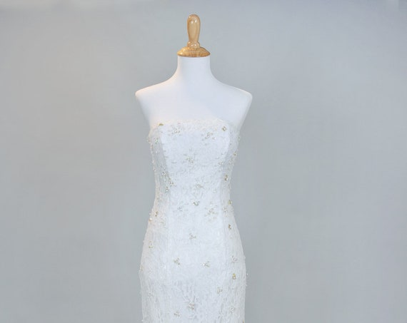 1980 Embellished Strapless Vintage Wedding Gown