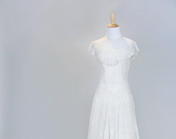 1950 Tea Stained lace Vintage Wedding Gown