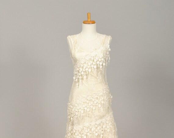 1970 Sheer Lace Embroidered Vintage Wedding Dress
