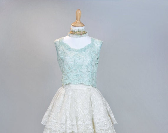 1950 Mint Lace Vintage Wedding Top