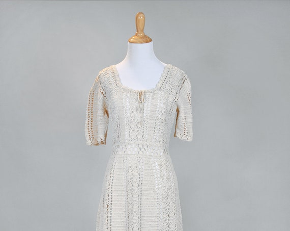 1970 Natural Crochet Vintage Wedding Dress